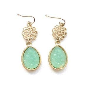 Jewelry - Gold and Light Green Chandelier Earrings